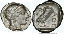 ATTICA. Athens. Ca. 440-404 BC. AR tetradrachm (25mm, 17.21 gm, 7h). NGC Choice AU 5/5 - 4/5. Mid-mass coinage issue. Head of Athena right, wearing cr...
