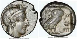 ATTICA. Athens. Ca. 440-404 BC. AR tetradrachm (24mm, 17.21 gm, 1h). NGC AU 5/5 - 4/5. Mid-mass coinage issue. Head of Athena right, wearing crested A...