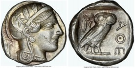 ATTICA. Athens. Ca. 440-404 BC. AR tetradrachm (24mm, 17.20 gm, 3h). NGC AU 5/5 - 4/5. Mid-mass coinage issue. Head of Athena right, wearing crested A...