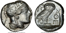 ATTICA. Athens. Ca. 440-404 BC. AR tetradrachm (24mm, 17.20 gm, 9h). NGC AU 4/5 - 4/5, edge cut. Mid-mass coinage issue. Head of Athena right, wearing...