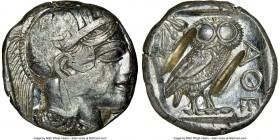 ATTICA. Athens. Ca. 440-404 BC. AR tetradrachm (24mm, 17.23 gm, 3h). NGC AU 4/5 - 1/5, test cuts. Mid-mass coinage issue. Head of Athena right, wearin...