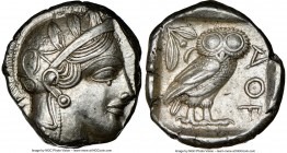 ATTICA. Athens. Ca. 440-404 BC. AR tetradrachm (25mm, 17.20 gm, 10h). NGC Choice XF 5/5 - 5/5. Mid-mass coinage issue. Head of Athena right, wearing c...