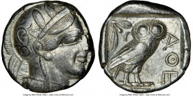 ATTICA. Athens. Ca. 440-404 BC. AR tetradrachm (23mm, 17.17 gm, 9h). NGC Choice XF 3/5 - 4/5. Mid-mass coinage issue. Head of Athena right, wearing cr...