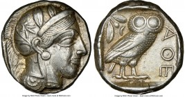 ATTICA. Athens. Ca. 440-404 BC. AR tetradrachm (23mm, 17.17 gm, 6h). NGC XF 5/5 - 4/5. Mid-mass coinage issue. Head of Athena right, wearing crested A...