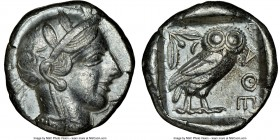 ATTICA. Athens. Ca. 440-404 BC. AR tetradrachm (24mm, 17.15 gm, 4h). NGC XF 5/5 - 3/5. Mid-mass coinage issue. Head of Athena right, wearing crested A...