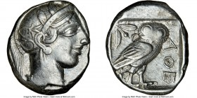 ATTICA. Athens. Ca. 440-404 BC. AR tetradrachm (24mm, 17.12 gm, 6h). NGC XF 4/5 - 4/5. Mid-mass coinage issue. Head of Athena right, wearing crested A...