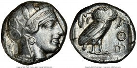 ATTICA. Athens. Ca. 440-404 BC. AR tetradrachm (23mm, 17.18 gm, 1h). NGC XF 4/5 - 4/5. Mid-mass coinage issue. Head of Athena right, wearing crested A...