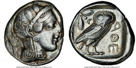 ATTICA. Athens. Ca. 440-404 BC. AR tetradrachm (24mm, 16.83 gm, 10h). NGC XF 4/5 - 4/5. Mid-mass coinage issue. Head of Athena right, wearing crested ...