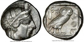 ATTICA. Athens. Ca. 440-404 BC. AR tetradrachm (24mm, 17.19 gm, 7h). NGC XF 4/5 - 3/5. Mid-mass coinage issue. Head of Athena right, wearing crested A...