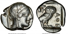 ATTICA. Athens. Ca. 440-404 BC. AR tetradrachm (24mm, 17.11 gm, 10h). NGC Choice VF 4/5 - 4/5. Mid-mass coinage issue. Head of Athena right, wearing c...