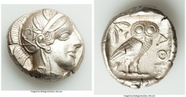 ATTICA. Athens. Ca. 440-404 BC. AR tetradrachm (25mm, 17.19 gm, 2h). AU. Mid-mass coinage issue. Head of Athena right, wearing crested Attic helmet or...