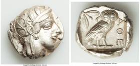 ATTICA. Athens. Ca. 440-404 BC. AR tetradrachm (26mm, 17.19 gm, 1h). AU. Mid-mass coinage issue. Head of Athena right, wearing crested Attic helmet or...