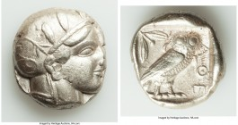 ATTICA. Athens. Ca. 440-404 BC. AR tetradrachm (24mm, 17.16 gm, 1h). VF. Mid-mass coinage issue. Head of Athena right, wearing crested Attic helmet or...