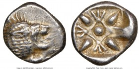 IONIA. Miletus. Ca. late 6th-5th centuries BC. AR 1/12 stater or obol (10mm). NGC XF. Milesian standard. Forepart of roaring lion left, head reverted ...
