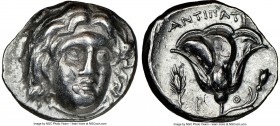 CARIAN ISLANDS. Rhodes. Ca. 275-250 BC. AR didrachm (20mm, 12h). NGC Choice VF. Antipatr(us), magistrate. Head of Helios facing, turned slightly right...