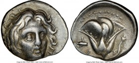 CARIAN ISLANDS. Rhodes. Ca. 275-250 BC. AR didrachm (21mm, 12h). NGC VF. Aristonomos, magistrate. Head of Helios facing, turned slightly right, hair p...
