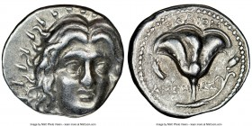 CARIAN ISLANDS. Rhodes. Ca. 230-205 BC. AR didrachm (21mm, 12h). NGC Choice VF. Ameinias, magistrate. Radiate facing head of Helios, turned slightly r...