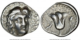 CARIAN ISLANDS. Rhodes. Ca. 230-205 BC. AR didrachm (21mm, 12h). NGC VF. Pharsytas, magistrate. Radiate head of Helios facing, turned slightly right, ...