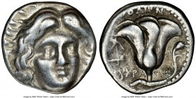 CARIAN ISLANDS. Rhodes. Ca. 230-205 BC. AR didrachm (19mm, 12h). NGC VF. Ca. 225-205 BC, Eucrates, magistrate. Radiate head of Helios facing, turned s...