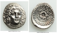 CARIAN ISLANDS. Rhodes. Ca. 84-30 BC. AR drachm (19mm, 3.91 gm, 12h). AU. Aineas, magistrate. Radiate head of Helios facing, turned slightly left, hai...