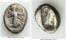 ACHAEMENID PERSIA. Ca. 5th century BC. AR siglos (16mm, 5.33 gm). Fine. Sardes. Persian king or hero, wearing cidaris and candys, drapery angled from ...