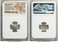 LYCIAN LEAGUE. Cragus. Ca. 48-20 BC. AR hemidrachm (15mm, 1.81 gm, 1h). NGC MS 5/5 - 4/5. Series 1. Laureate head of Apollo right; Λ-Y below / K-P, ci...