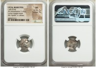 LYCIAN LEAGUE. Masicytes. Ca. 48-20 BC. AR hemidrachm (15mm, 1.65 gm, 1h). NGC MS 5/5 - 4/5. Series 2. Laureate head of Apollo right, wearing taenia; ...