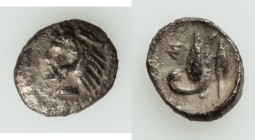 CILICIA. Mallus. Ca. 425-385 BC. AR hemiobol (8mm, 0.37 gm, 9h). XF. Bearded head of Heracles left, wearing lion skin headdress / M, swan standing on ...