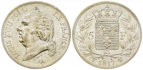 Louis XVIII 1814-1815 5 Francs, Lille, 1817 W, AG 25 g. Ref : G.614 Conservation : PCGS MS62