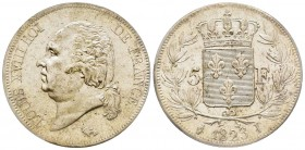 Louis XVIII 1814-1815 5 Francs, Limoges, 1823 I, AG 25 g. Ref : G.614 Conservation : PCGS MS62. Rare.