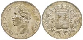 Charles X 1824-1830 5 Francs, Lille, 1827 W, AG 25 g. Ref : G.644 Conservation : PCGS AU58