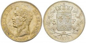 Charles X 1824-1830 5 Francs, Bayonne, 1829 L, AG 25 g. Ref : G.644 Conservation : PCGS MS62