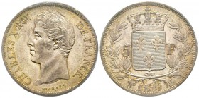 Charles X 1824-1830 5 Francs, Marseille, 1830 MA, AG 25 g. Ref : G.644 Conservation : PCGS AU55