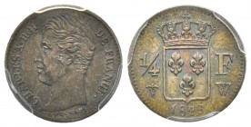 Charles X 1824-1830 1/4 Franc, Lille 1829 W, AG 1.25 g. Ref : G.353 Conservation : PCGS MS64