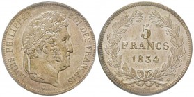 Louis Philippe 1830-1848 5 Francs, Lille, 1834 W, AG 25 g. Ref : G.678 Conservation : PCGS MS62
