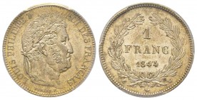 Louis Philippe 1830-1848 1 Franc, Lille, 1844 W, AG 5 g. Ref : G.453 Conservation : PCGS MS64. Conservation exceptionnelle