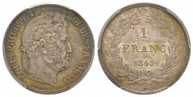 Louis Philippe 1830-1848 1 Franc, Lille, 1845 W, AG 5 g. Ref : G.453 Conservation : PCGS MS63