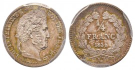 Louis Philippe 1830-1848 1/4 Franc, Lille, 1834 W, AG 1.25 g. Ref : G.355 Conservation : PCGS MS63