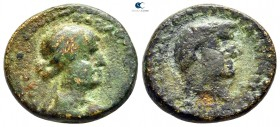 Coele. Chalcis ad Libanum. Mark Antony and Cleopatra 32-31 BC. Dually-dated RY 21 (Egyptian) and 6 (Phoenician) of Cleopatra. Bronze Æ