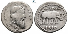 Q. Caecilius Metellus Pius Scipio 47-46 BC. Military mint travelling with Scipio in Africa. Denarius AR