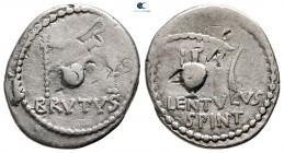 Q. Caepio Brutus and Lentulus Spint 43-42 BC. Mint moving with Brutus and Cassius. Denarius AR