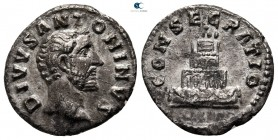 Divus Antoninus Pius AD 161. Consecration issue struck under Marcus Aurelius and Lucius Verus in Rome, after AD 161. Rome. Denarius AR