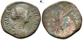 Diva Faustina II Died AD 175-176. Commemorative issue struck under Marcus Aurelius, circa AD 175/6. Rome. Sestertius Æ
