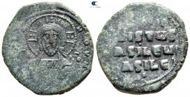 Attributed to Basil II and Constantine VIII AD 976-1028. Constantinople. Anonymous follis Æ. Class A2
