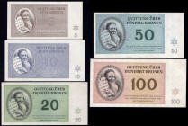 Czechoslovakia Terezin Ghetto Set of 5 Banknotes 1943