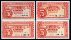 Czechoslovakia Lot of 4 Banknotes 1945 - 1949