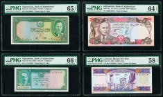 Afghanistan Bank of Afghanistan 5 (2); 1000 Afghanis ND (1939) / SH1318; ND (1948) / SH1327; ND (1977) / SH1356 Pick 22; 29; 53c PMG Gem Uncirculated ...