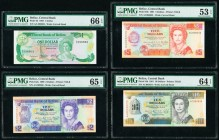 Belize Central Bank 1; 2; 5; 10 Dollar 1.7.1983; 1.5.1990; 1.6.1991 (2) Pick 43; 52a; 53b; 54b Four Examples PMG Gem Uncirculated 66 EPQ; Gem Uncircul...