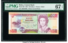 Belize Central Bank 50 Dollars 1.6.1991 Pick 56b PMG Superb Gem Unc 67 EPQ.   HID09801242017  © 2020 Heritage Auctions | All Rights Reserved