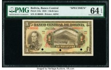 Bolivia Banco Central 1 Boliviano 1928 Pick 118s Specimen PMG Choice Uncirculated 64 EPQ. Three POCs; red Specimen overprints.  HID09801242017  © 2020...